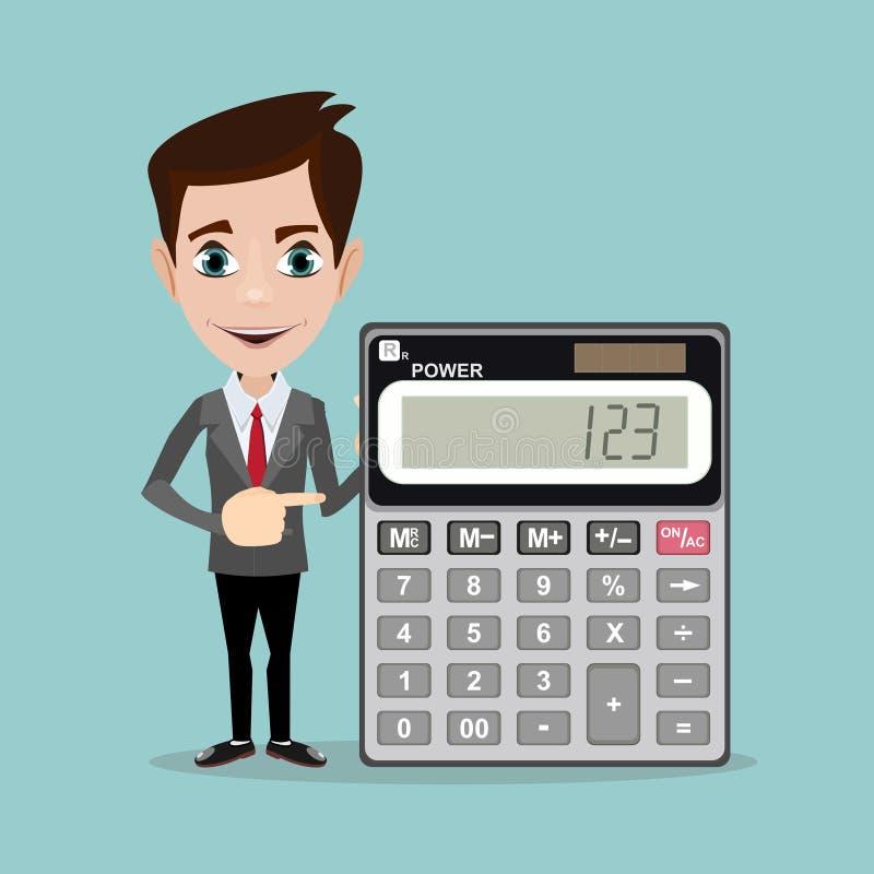 Contador com uma calculadora, ilustração do vetor ilustração do vetor