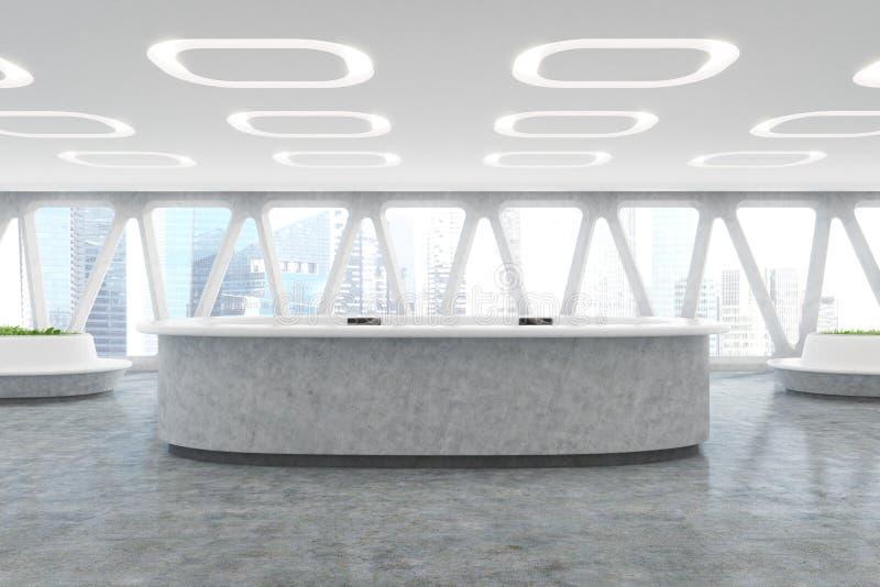 Contador curvado da recepção no salão do escritório ilustração royalty free