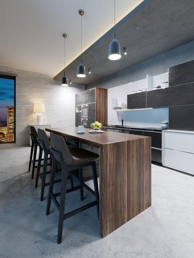 Contador da barra com cadeiras e uma ilha de cozinha em uma cozinha moderna, nivelando a iluminação ilustração stock