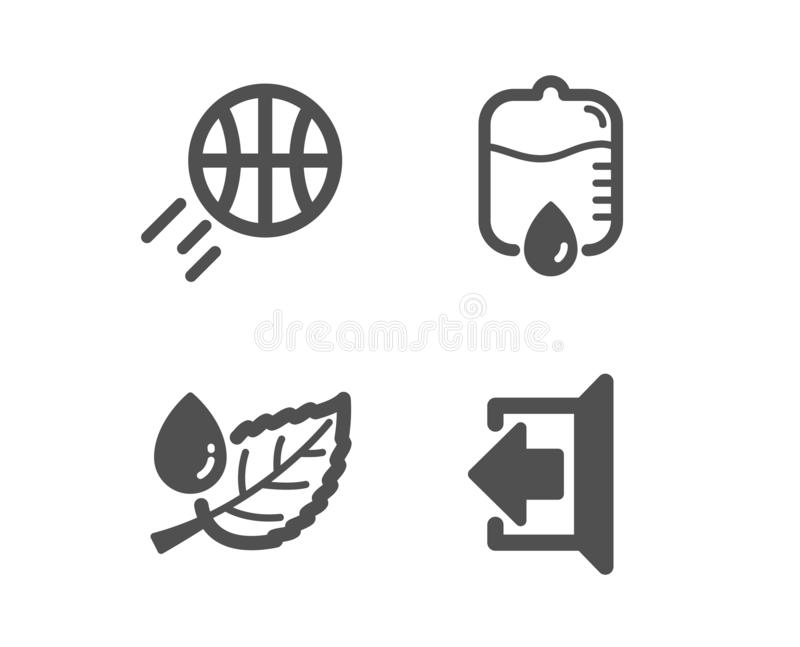 Contador da gota, de orvalho do basquetebol e da folha ícones Assine para fora o sinal Equipamento médico, bola do esporte, gota  ilustração royalty free
