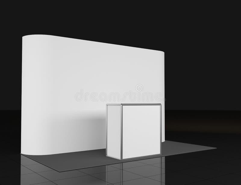Contador da promo??o Suporte do com?rcio a retalho isolado no fundo branco Molde do modelo para seu projeto backdrop ilustração stock