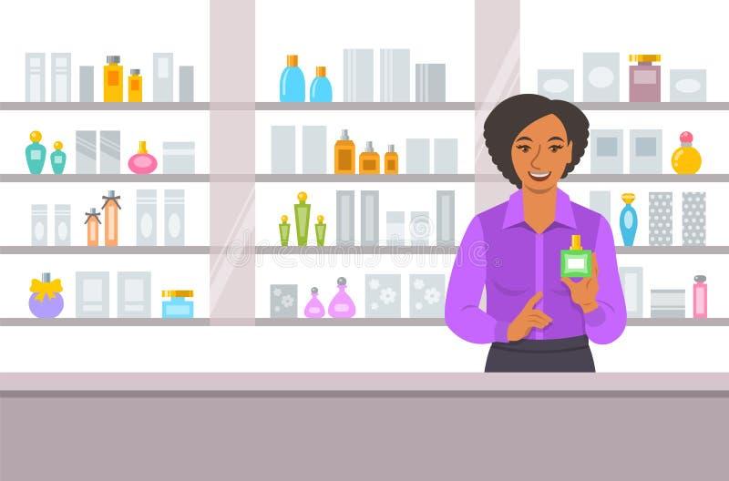 Contador de la muchacha del negro de la tienda de los cosméticos cerca de estantes libre illustration