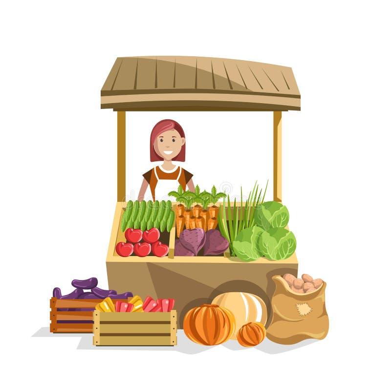 Contador de madera de la calle con las verduras orgánicas frescas y el vendedor de sexo femenino stock de ilustración