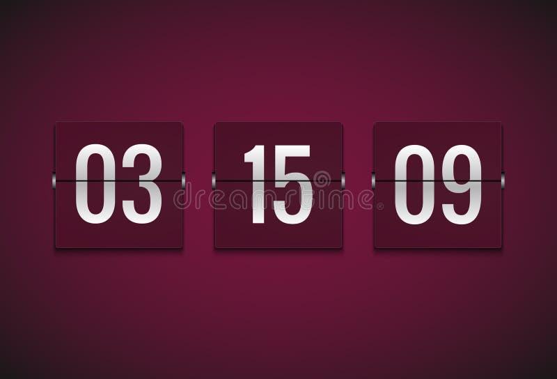 Contador de reloj del contador de tiempo de la cuenta descendiente Plantilla del contador de tiempo del vector del tirón Informac ilustración del vector