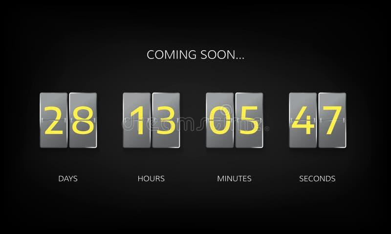 Contador de reloj del contador de tiempo de la cuenta descendiente Plantilla plana del sitio web de la cuenta descendiente Diseño ilustración del vector