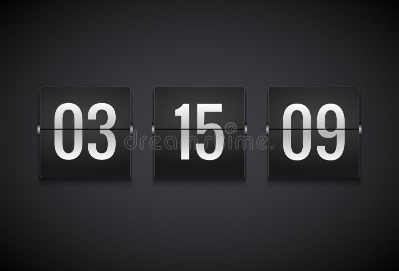 Contador de reloj del contador de tiempo de la cuenta descendiente Plantilla del contador de tiempo del vector del tirón Informac stock de ilustración