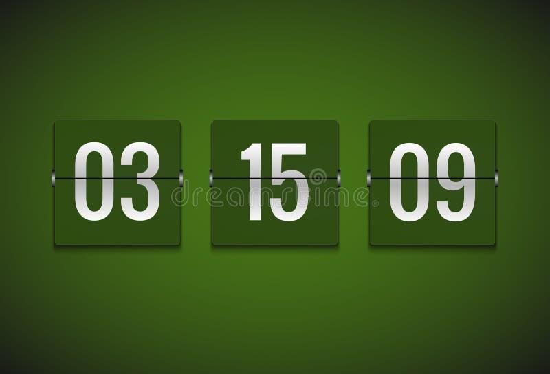 Contador de reloj del contador de tiempo de la cuenta descendiente Plantilla del contador de tiempo del vector del tirón Informac libre illustration
