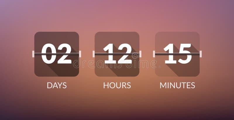 Contador de reloj del vector del contador de tiempo de Flip Countdown De la cuenta muestra plana del negocio del vector del día a libre illustration