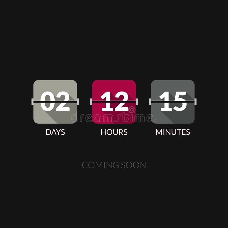 Contador de reloj del vector del contador de tiempo de Flip Countdown Estilo plano ilustración del vector