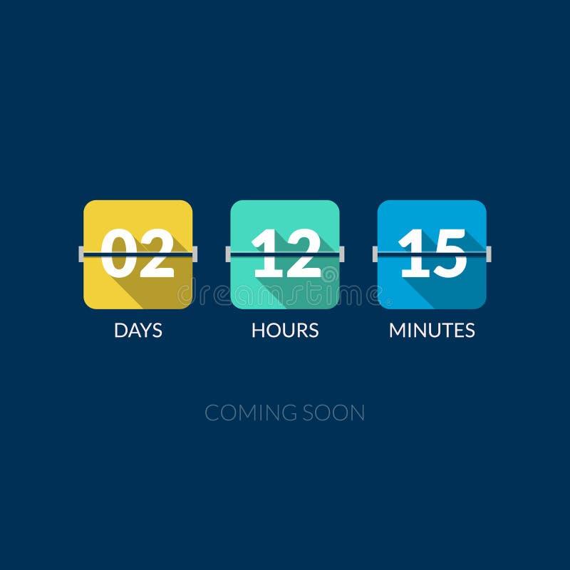 Contador de reloj del vector del contador de tiempo de Flip Countdown Estilo plano stock de ilustración