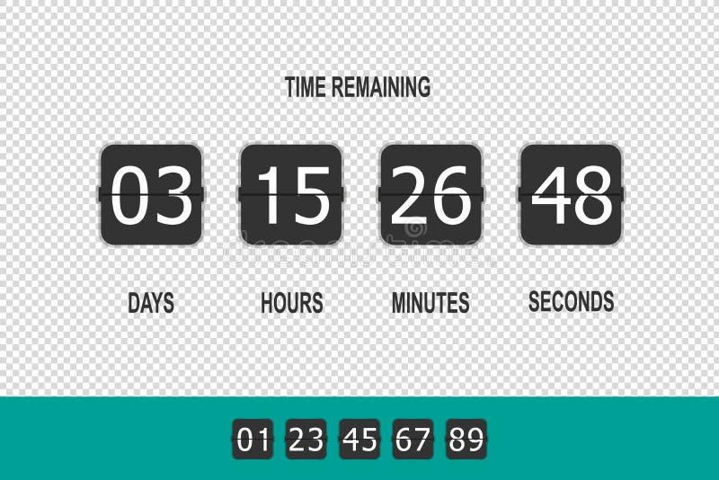 Contador de reloj, contador de tiempo Flip Countdown, cuenta descendiente restante del tiempo - ejemplo del vector - aislado en f libre illustration