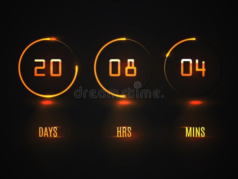 Contador de tiempo contrario Fondo del contador de tiempo del reloj digital de la plantilla del vector del sitio web de la cuenta ilustración del vector