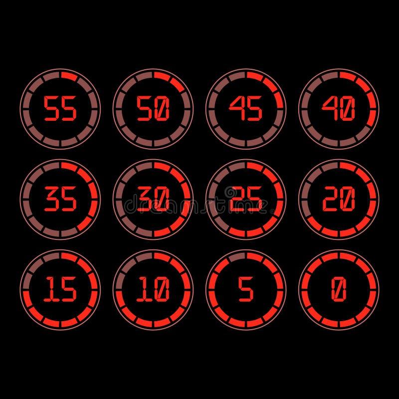 Contador de tiempo de la cuenta descendiente con intervalo de cinco minutos en estilo moderno ilustración del vector