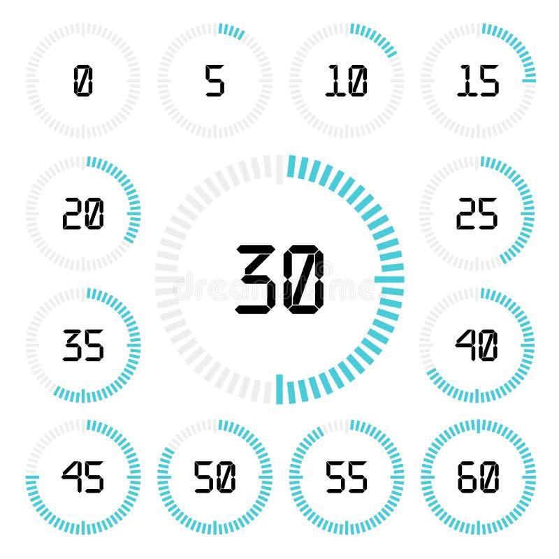 Contador de tiempo de la cuenta descendiente con intervalo de cinco minutos en estilo moderno stock de ilustración
