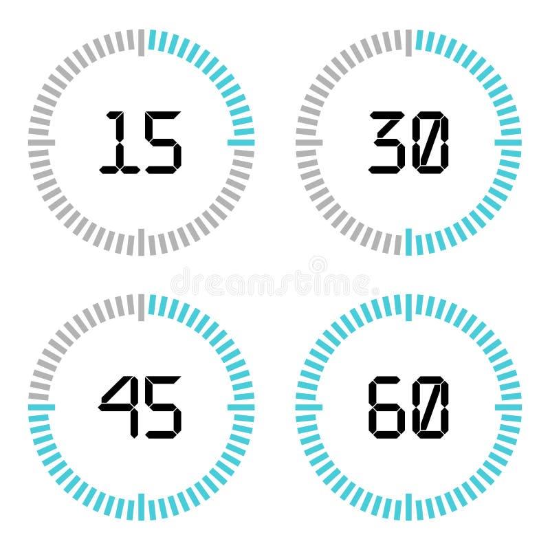 Contador de tiempo de la cuenta descendiente con intervalo de cinco minutos en estilo moderno libre illustration