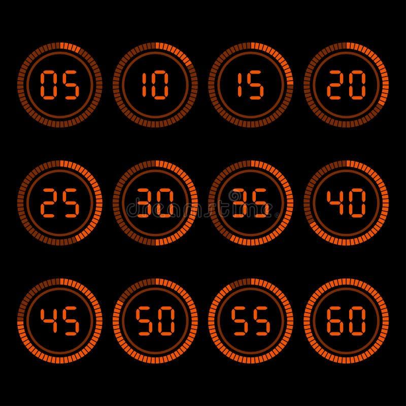 Contador de tiempo de la cuenta descendiente de Digitaces con intervalo de cinco minutos libre illustration