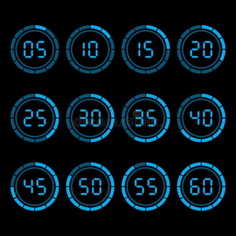 Contador de tiempo de la cuenta descendiente de Digitaces con intervalo de cinco minutos ilustración del vector