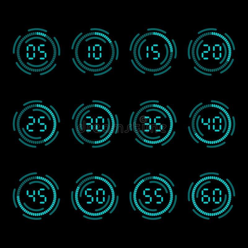 Contador de tiempo de la cuenta descendiente de Digitaces con intervalo de cinco minutos stock de ilustración
