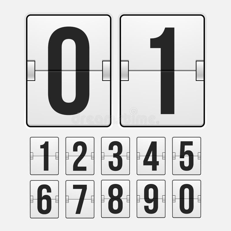 Contador de tiempo de la cuenta descendiente, marcador mecánico del color blanco libre illustration