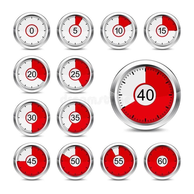 Contador de tiempo de los iconos ilustración del vector