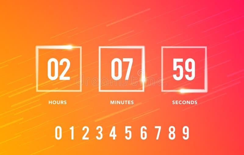Contador de tiempo del reloj digital del ejemplo del vector para venir pronto o bajo construcción Elemento gráfico del sitio web  libre illustration