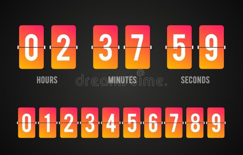 Contador de tiempo del contador de reloj de la cuenta descendiente del tablero del tirón del vector Marcador de la hora, de minut libre illustration