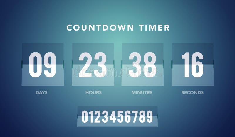 Contador de tiempo del contador de reloj de la cuenta descendiente del tirón del ejemplo del vector para la página web stock de ilustración