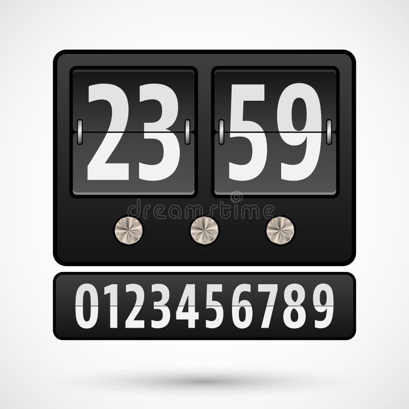 Contador de tiempo del reloj o de la cuenta descendiente del tirón stock de ilustración