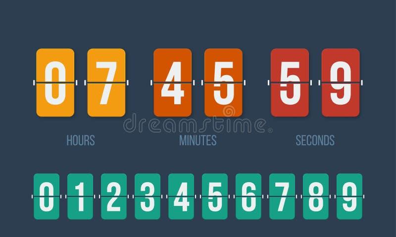 Contador de tiempo digital del vector del contador del tirón del reloj de la cuenta descendiente stock de ilustración