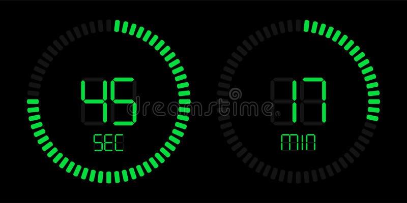 Contador de tiempo digital de la cuenta descendiente verde del cronómetro ilustración del vector