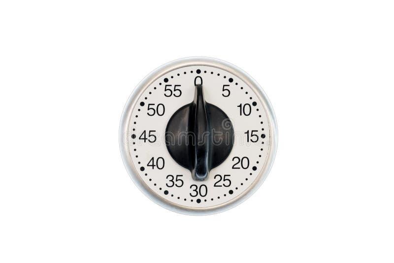 Contador de tiempo de la cocina fijado a los minutos 0 aislados en blanco fotografía de archivo libre de regalías