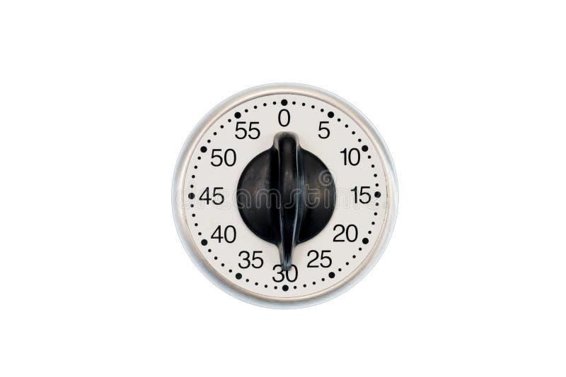 Contador de tiempo de la cocina fijado a 30 minutos aislados en blanco fotos de archivo libres de regalías