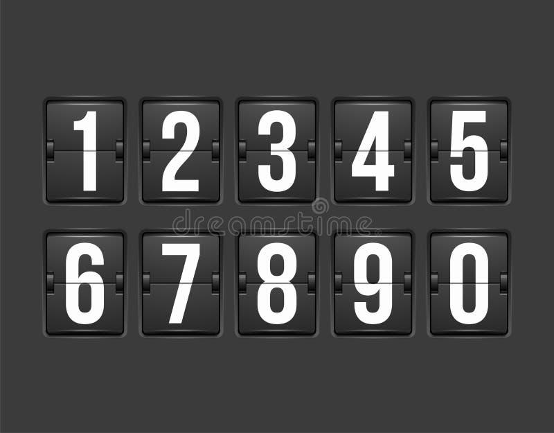 Contador de tiempo de la cuenta descendiente, marcador mecánico del color blanco stock de ilustración
