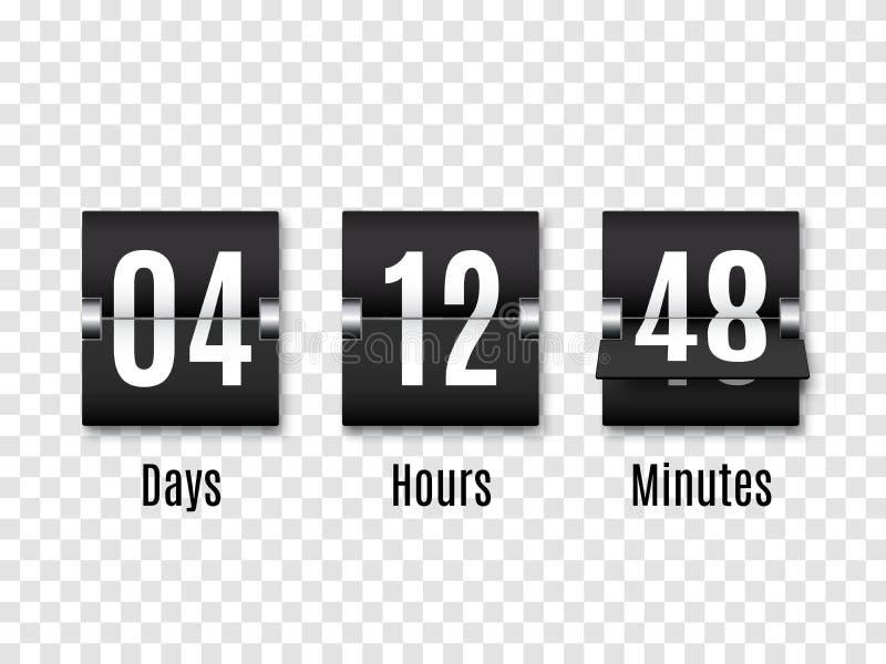 Contador de tiempo negro de la cuenta descendiente con los números blancos aislado en fondo transparente Contador de reloj Vector stock de ilustración