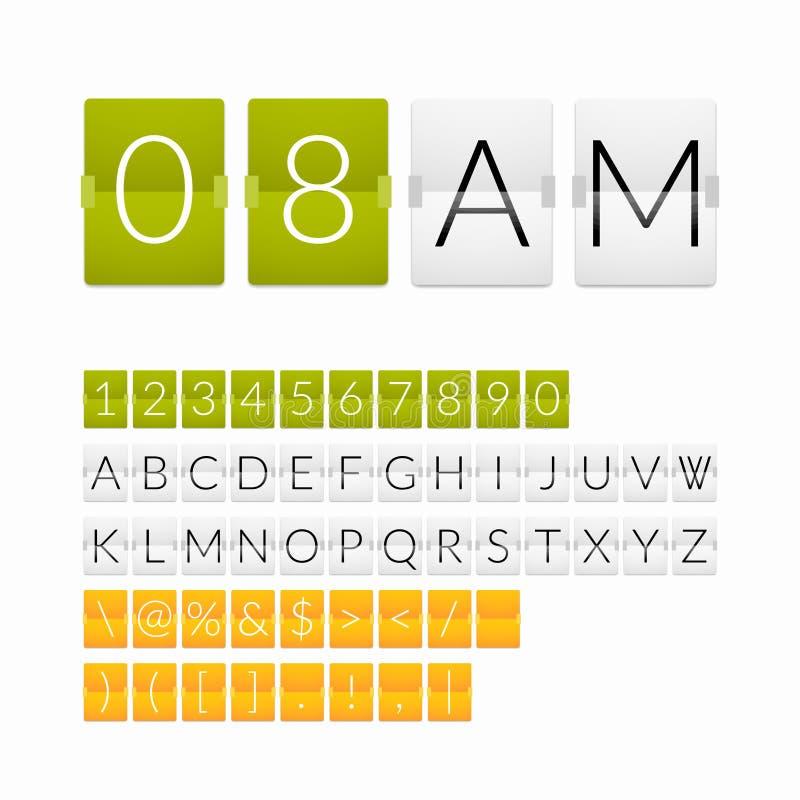 Contador de tiempo plano de la cuenta descendiente, estilo del Libro Blanco stock de ilustración