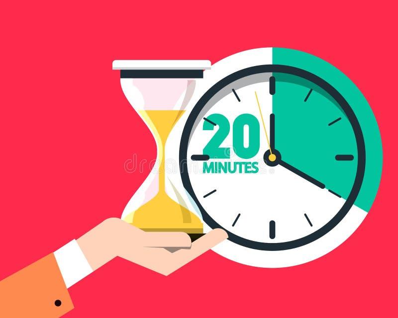 Contador de tiempo de 20 veinte minutos Reloj de la arena - icono plano del diseño del reloj de arena stock de ilustración