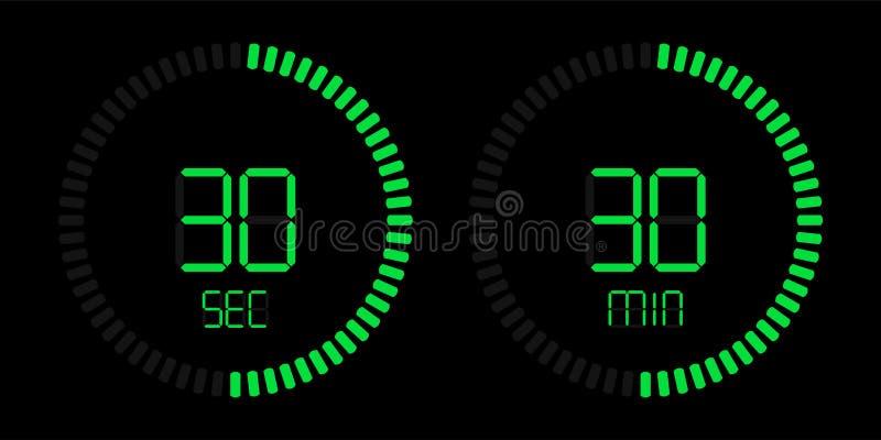 Contador de tiempo verde digital de la cuenta descendiente del cronómetro ilustración del vector
