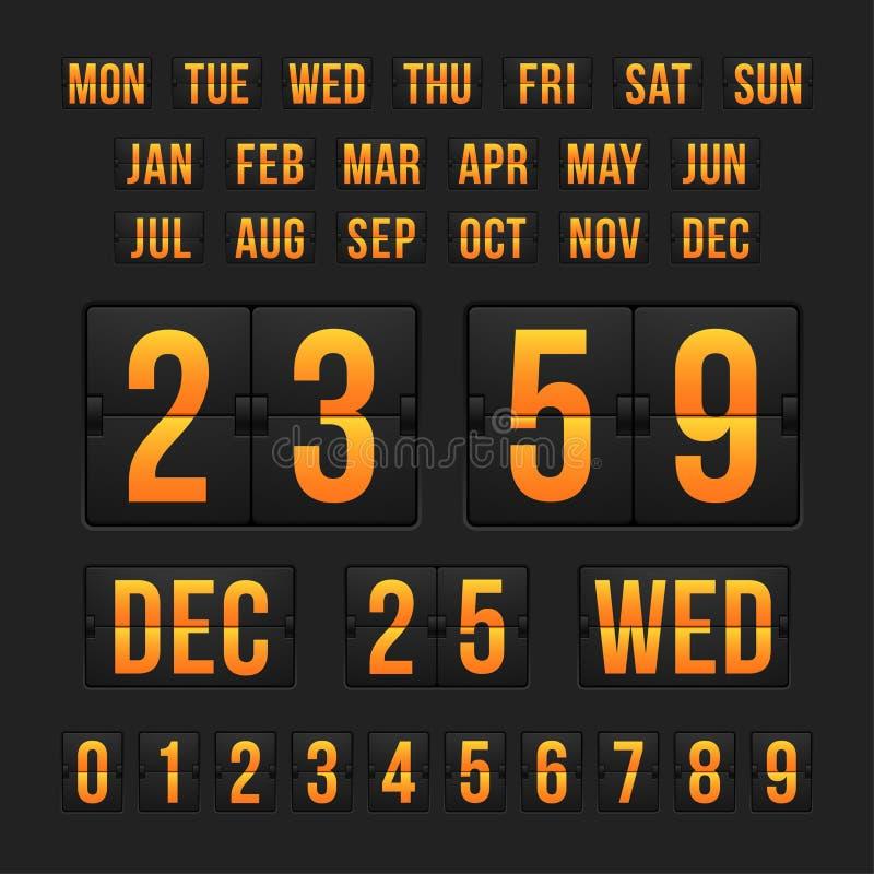 Contador de tiempo y fecha, marcador de la cuenta descendiente del calendario stock de ilustración