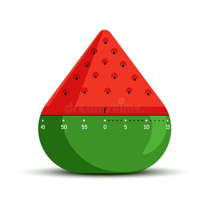 Contador de tiempo y tiempo que miden forma aislada de la sandía del icono stock de ilustración
