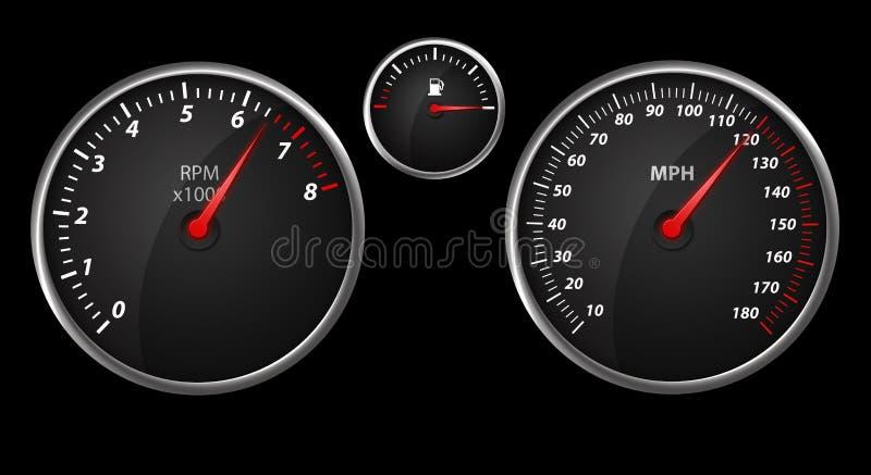 Contador de velocidad auto moderno en negro libre illustration