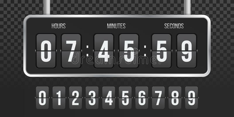 Contador del vector del reloj de la cuenta descendiente del tirón stock de ilustración