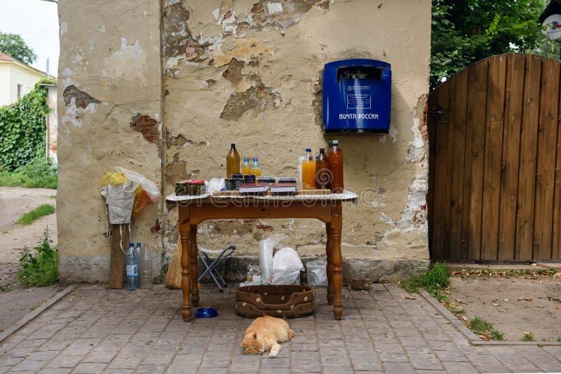 Contador del vendedor ambulante Suzdal, Rusia fotografía de archivo libre de regalías