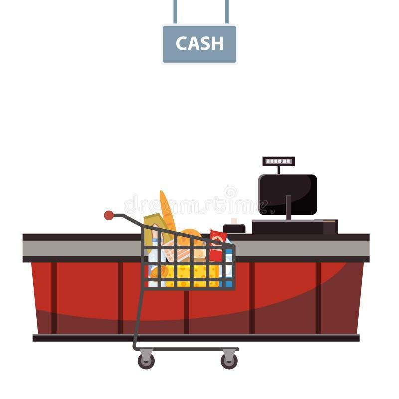 Contador en el supermercado, tienda, tienda del cajero con el carro del ultramarinos por completo de ultramarinos Vector, ejemplo libre illustration