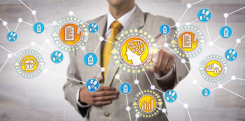 Contador Initiating Artificial Intelligence App foto de stock