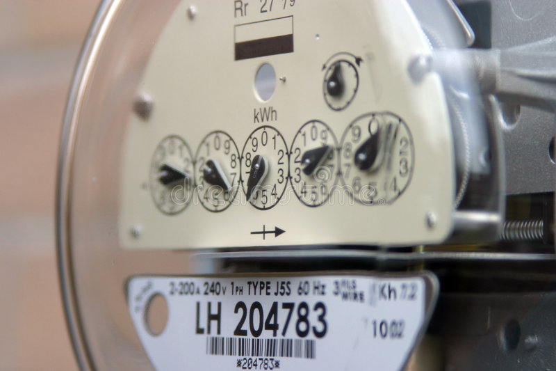 Contador utilitario eléctrico imagen de archivo