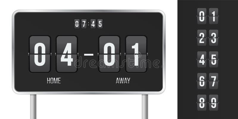 Contagem do vetor do placar e contagem regressiva da aleta do tempo ilustração stock