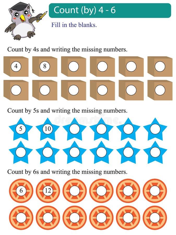 Contagem dos múltiplos da matemática por 4 - 6 ilustração stock