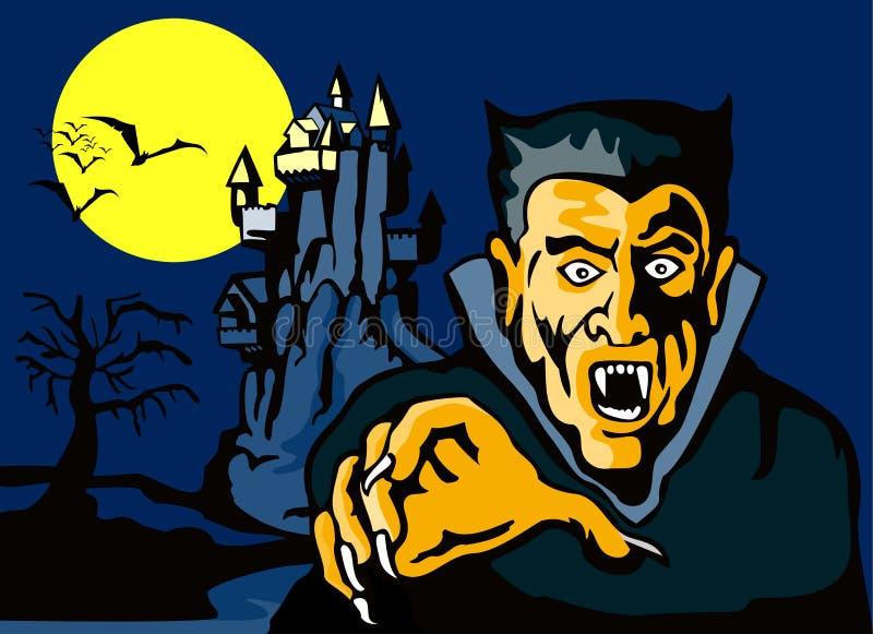 Contagem Dracula com castelo ilustração stock