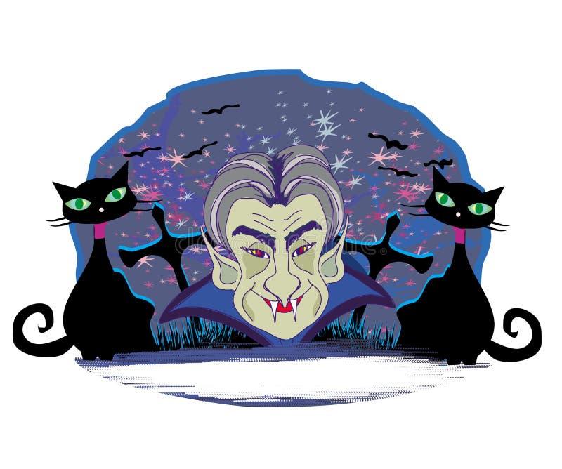 Contagem Dracula dos desenhos animados, quadro de Dia das Bruxas do grunge ilustração royalty free