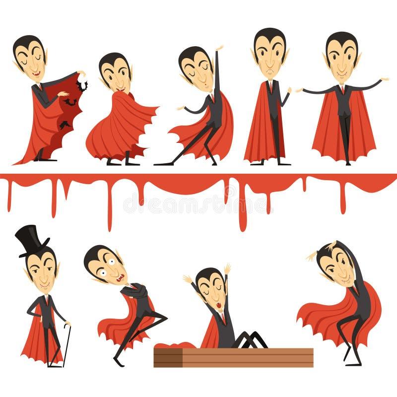 Contagem Dracula dos desenhos animados que veste o grupo vermelho do cabo Ilustrações do vetor dos caráteres do vampiro ilustração royalty free